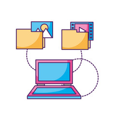 laptop computer folder files photo video data vector image