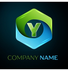 Letter Y logo symbol in the colorful hexagonal on vector