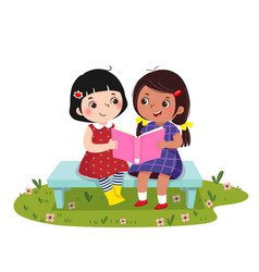 little girls sitting on the bench and reading book vector image