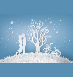 Lovers are hugging in a meadow with tree without vector