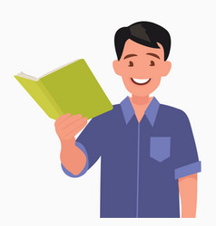 man is holding a book in his hand vector image