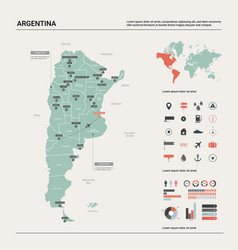 Map argentina high detailed country map vector