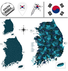 map of south korea with counties vector image