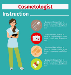 Medical equipment instruction for cosmetologist vector