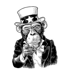 Monkey uncle sam with pointing finger engraving vector