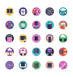 network and hosting flat icons vector image
