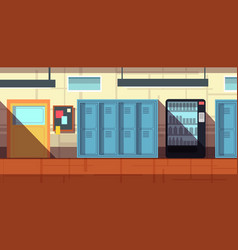 Nobody school corridor interior cartoon vector