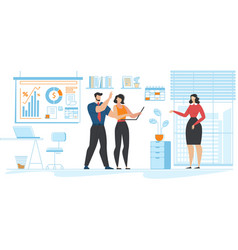 Office situation and coworkers a community cartoon vector