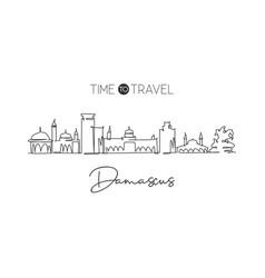 one single line drawing damascus city skyline vector image