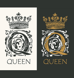 Ornate letter q with crown logo design vector