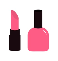 Pink lipstick nail polish icon set White vector image