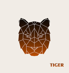 polygonal tiger head wild animal vector image