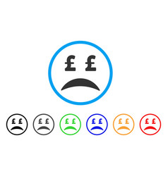 pound bankrupt sad emotion rounded icon vector image