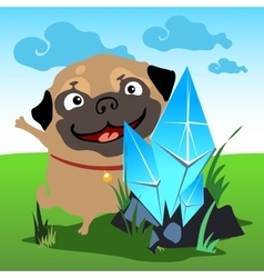 Pug with a crystal in the natural landscape vector image