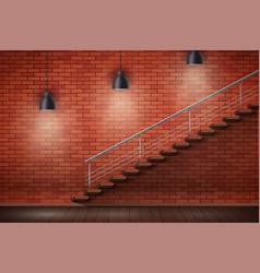 Red brick wall loft interior vector