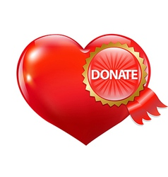Red Heart With Label Donate vector image