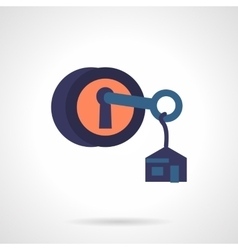 Round lock with key flat icon vector image
