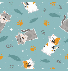 seamless pattern cute cat vector image