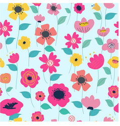 seamless vintage colorful flower garden vector image