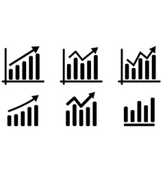 set growing bar graph icon vector image