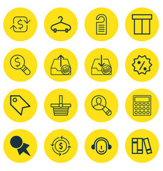 set of 16 commerce icons includes price stamp vector image