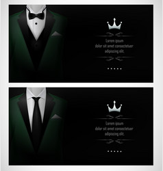 Set of green tuxedo business card templates with b vector