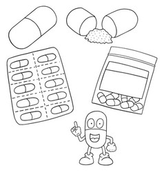 set of medicine capsule vector image