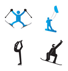 set of winter sport symbols vector image