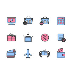 set online colorful shopping icons vector image
