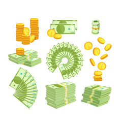 set various kind money isolated on white vector image