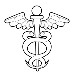 Sign medicine icon outline style vector