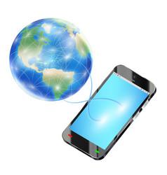smartphone send data to internet around world vector image