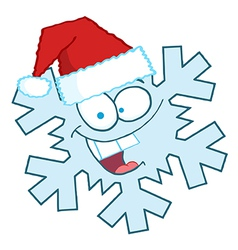 Snowflake Character With Santa Hat vector