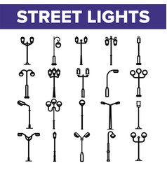 street lights linear thin icons set vector image