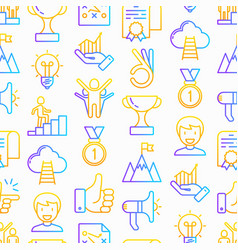 success seamless pattern with thin line icons vector image