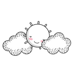 sun and clouds drawing cartoon vector image