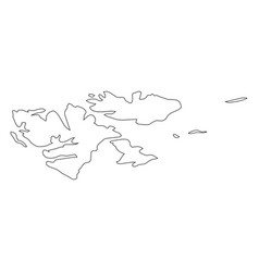 svalbard islands - solid black outline border map vector image
