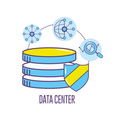technology banner data center connecting vector image