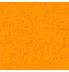 Thin Line Orange Spring and Garden Seamless vector image