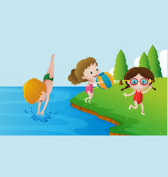 three kids swimming in the lake vector image