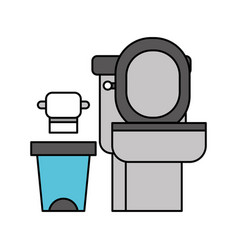 Toilet bowl trash can and paper equipment bath vector