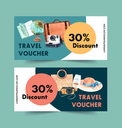 Tourism voucher design with bag globe camera hat vector