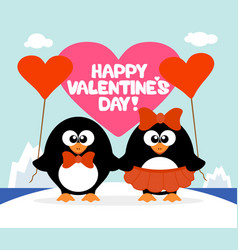 Valentines day background card with penguins vector