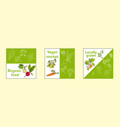 vegan farmer market card set vector image