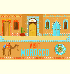 Visit morocco cartoon flat vector