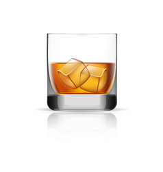 Whisky glass ice cubes icon realistic style vector