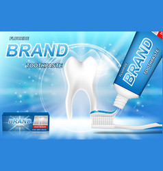 whitening toothpaste ads tooth model and dental vector image
