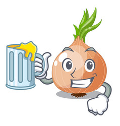 With juice fresh onion isolated on the mascot vector