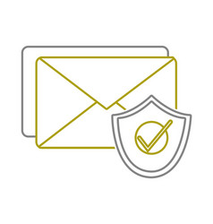 yellow line e-mail letter message with security vector image