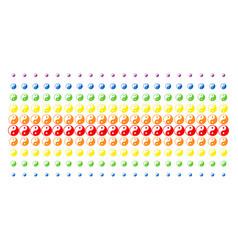 yin yang shape halftone spectrum grid vector image